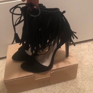Zara Black Fringe Heel